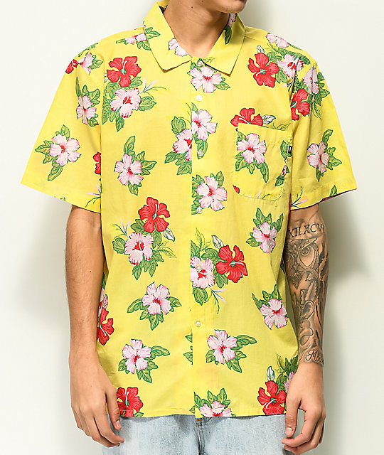 Top Obey Kane Yellow Tropical Floral Short Sleeve Button Up Shirt free shipping