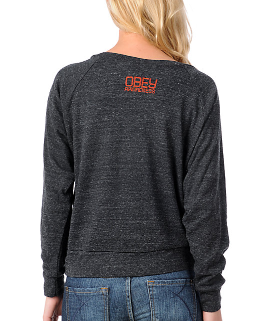Obey Keep A Breast Charcoal Raglan Top