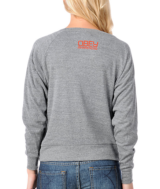 Obey Keep A Breast Grey Raglan Top
