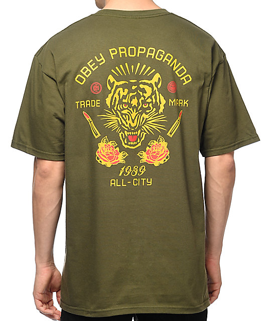 Obey Kiss Me Deadly Tiger Olive T-Shirt ...