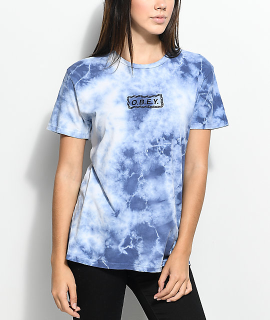 Obey Labour Of Love Chain Navy Tie Dye T-Shirt