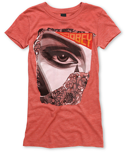 Obey Lady Collage Red Fitted T-Shirt