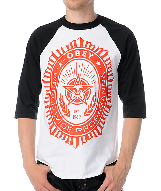 Obey Legion Black & White Baseball T-Shirt