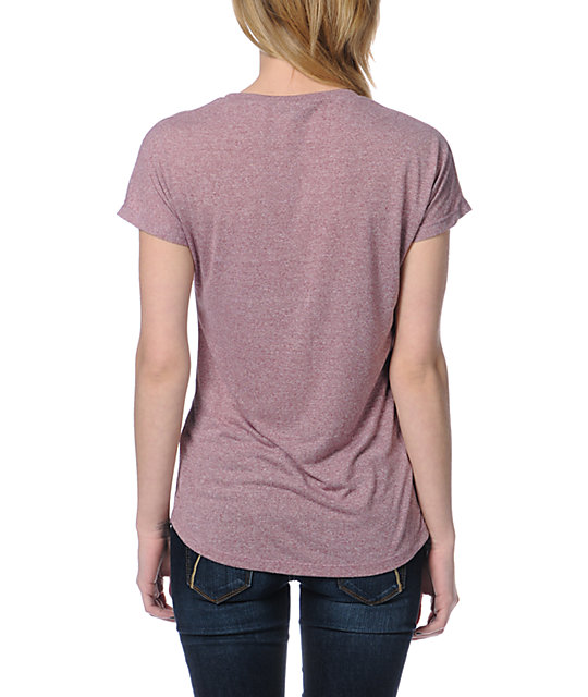 Obey Light As A Feather Heather Pink Mock Twist T-Shirt