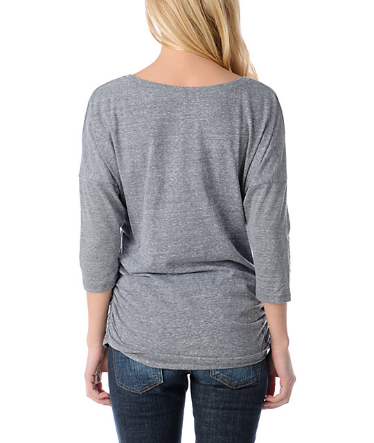 Obey Light as a Feather Charcoal Tri-Blend Dolman Top