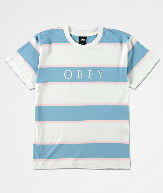 Obey Liz Box Blue & White Stripe T-Shirt