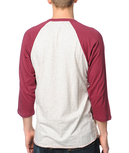 Obey Loaded Burgundy Henley Baseball T-Shirt