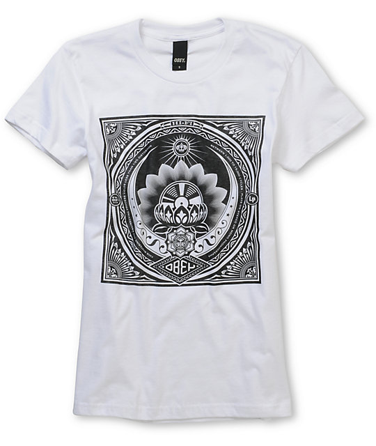 Obey Lotus LP Basic White T-Shirt
