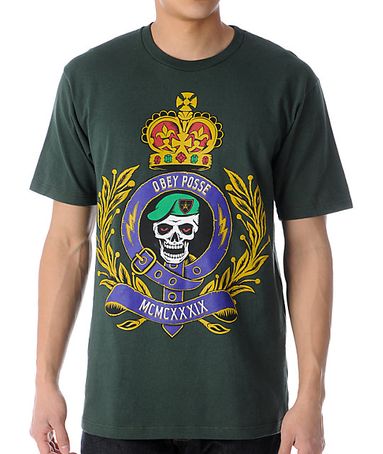 Obey Low And Behold Dark Green T-Shirt