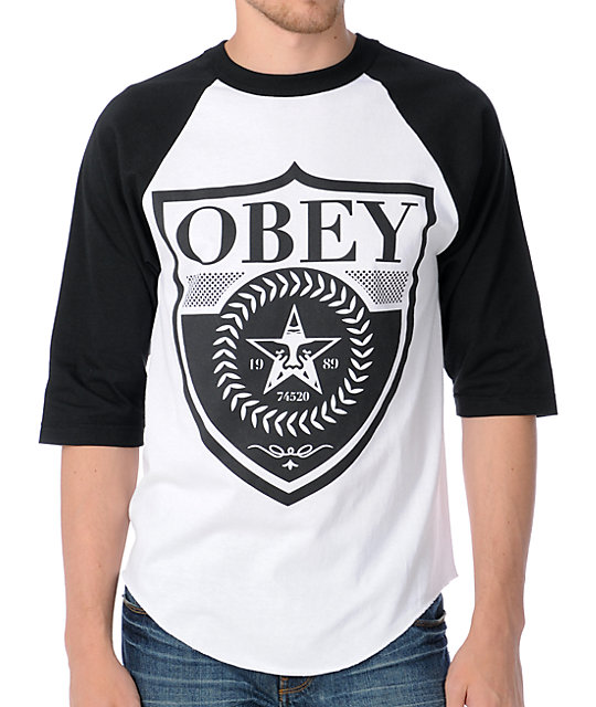 Obey Low Life Shield Black & White Baseball T-Shirt