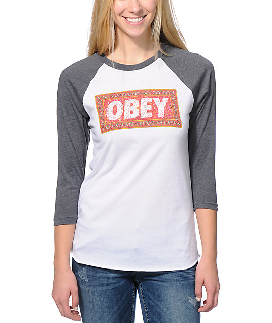 Obey Magic Carpet White & Charcoal Baseball Tee