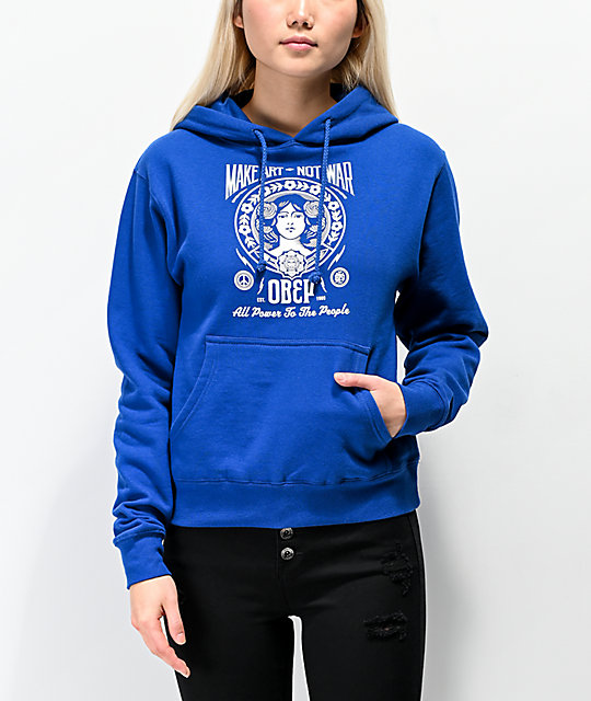 Obey Make Art Not War 2 Royal Blue Hoodie