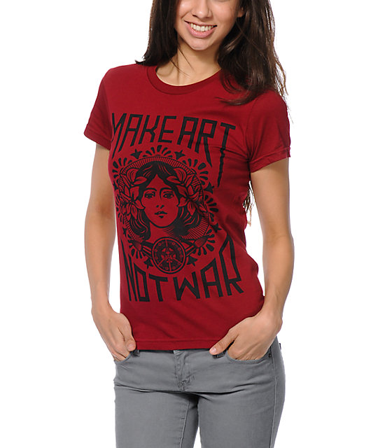 Obey Make Art Not War Berry T-Shirt