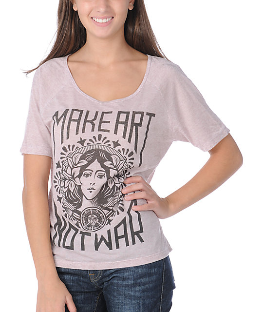 Obey Make Art Not War Pink Burnout Dolman T-Shirt