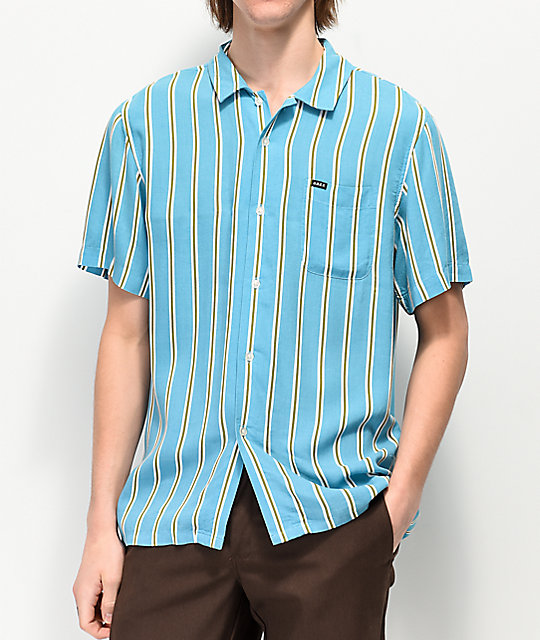Obey Market Striped Woven Short Sleeve Button Up Shirt