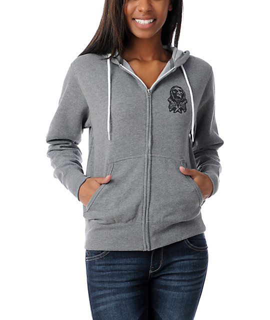 Obey Masters Of War Grey Zip Up Hoodie