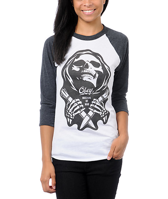 Obey Masters of War White & Charcoal Baseball Tee