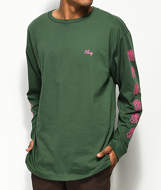 Obey Mira Rosa 2 Green & Pink Long Sleeve T-Shirt