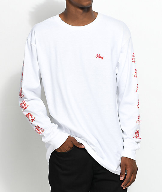 Obey Mira Rosa 2 Red & White Long Sleeve T-Shirt ...