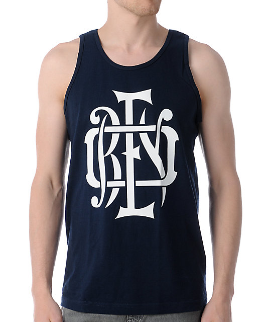Obey Monogram White & Navy Tank Top