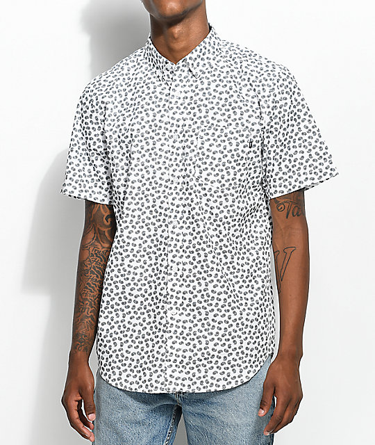 Cheap Obey Monty Paisley Printed White Short Sleeve Button Up Shirt hot sale