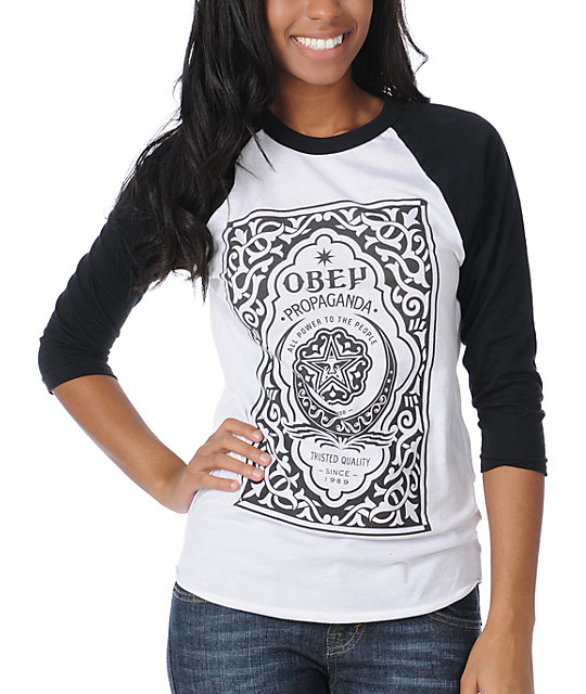 Obey Moroccan Label Black & White Baseball Tee
