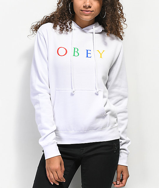 Obey Multicolor Novel sudadera con capucha blanca