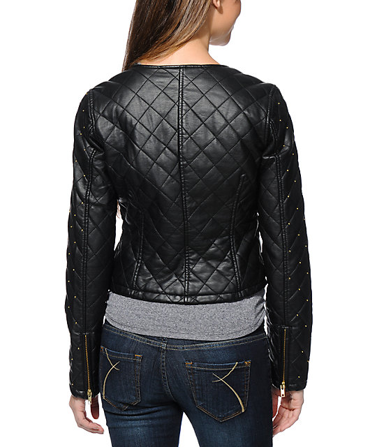 Obey Neon Night Black Faux Leather Motorcycle Jacket