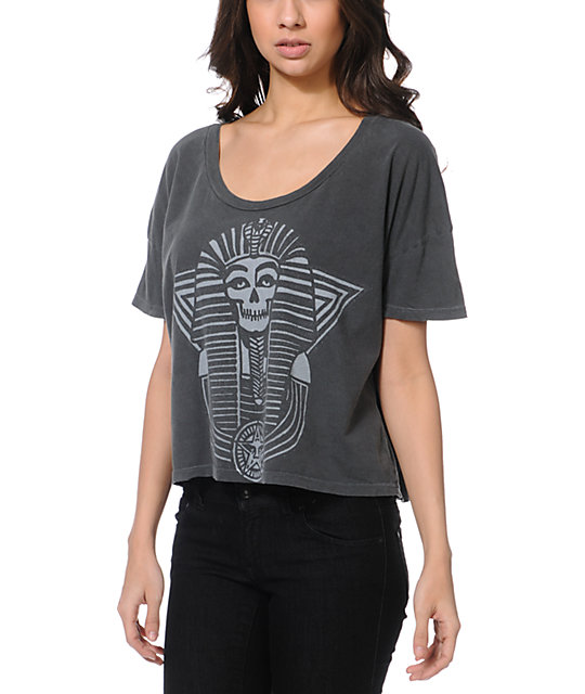Obey New Kingdom Charcoal Vintage Crop Top