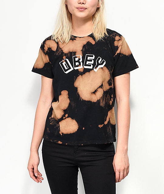 Obey New World Classic Black Bleached T-Shirt