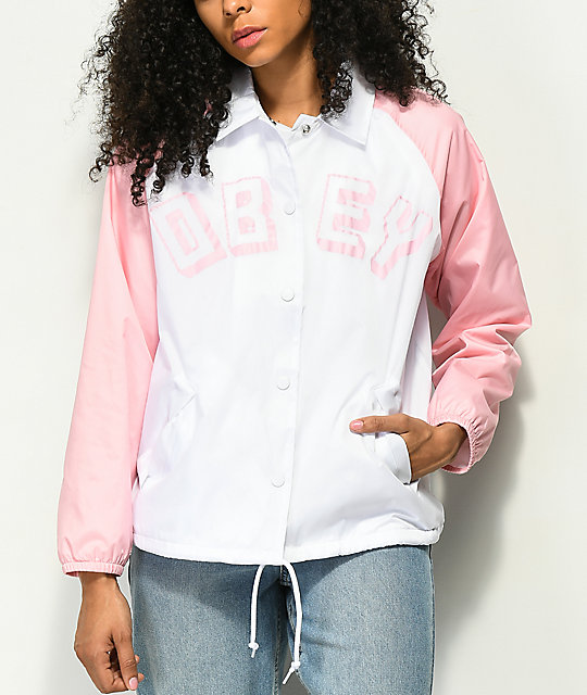 Obey New World Pink & White Coaches Jacket