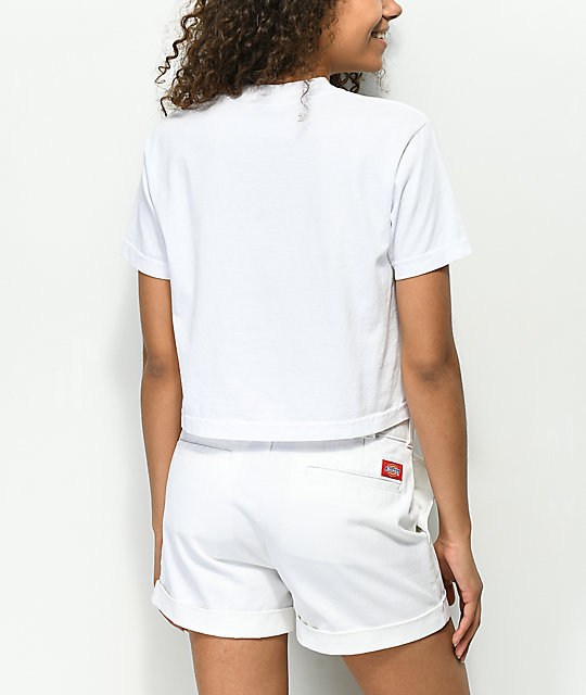 Obey New World camiseta blanca corta con cuello simulado