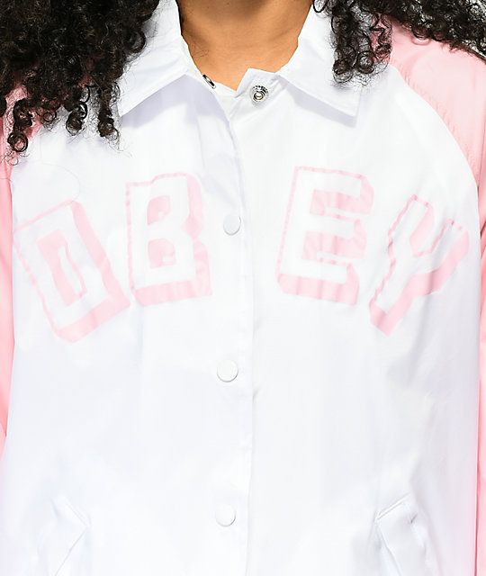 Obey New World chaqueta entrenador en rosa y blanco