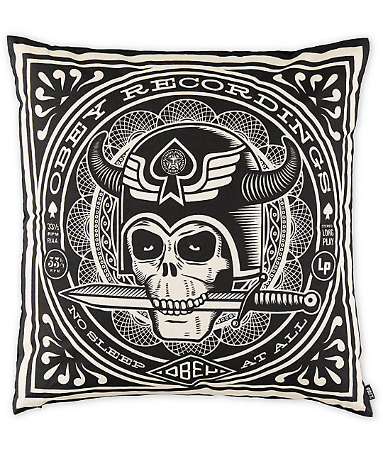 Obey No Sleep Black Throw Pillow