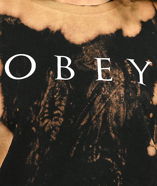 Obey Novel 2 camiseta negra blanqueada