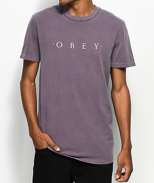 Obey Novel camiseta en color berenjena polvorienta