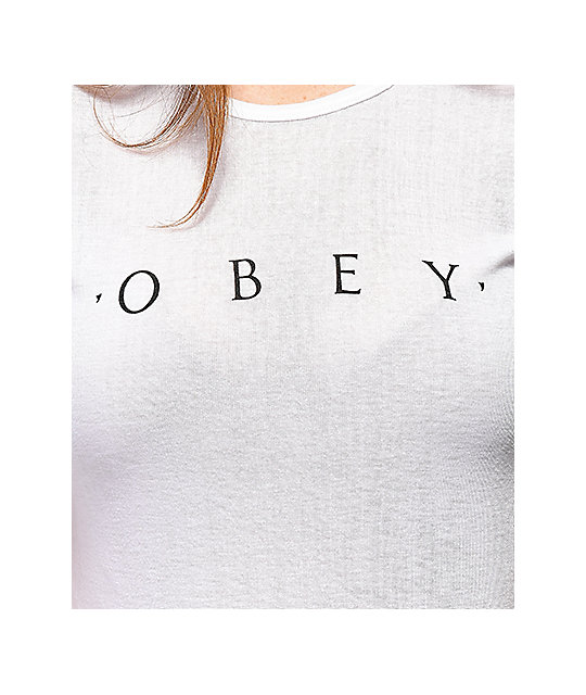 Obey Novel camiseta encogida blanca