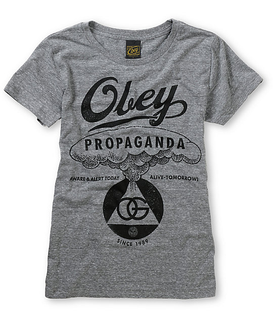 Obey Nuclear Attack Grey Tri-Blend T-Shirt