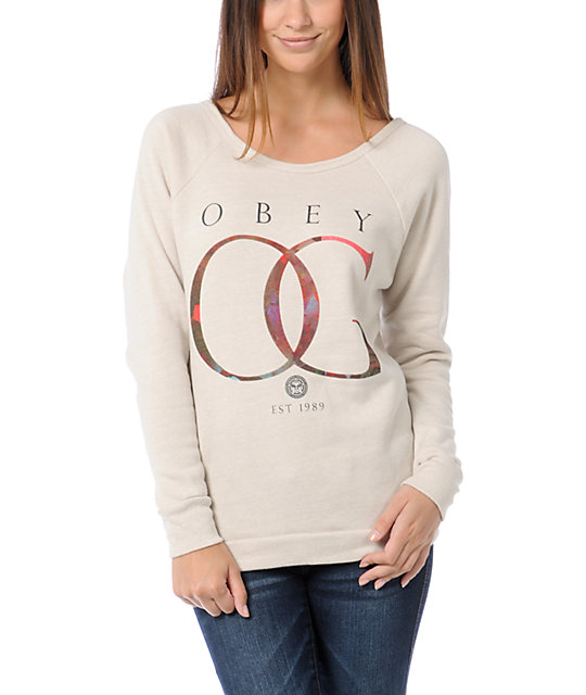 Obey OG Gold Rose Vandal Heather Stone Crew Neck Sweatshirt