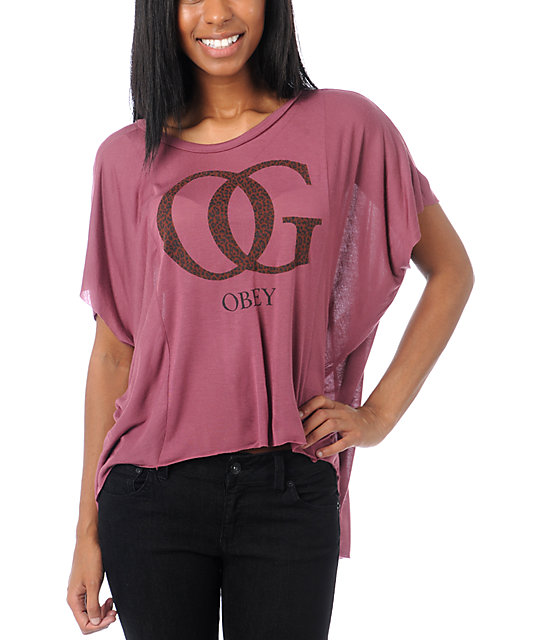 Obey OG Leopard Berry Pink Straight Line Top