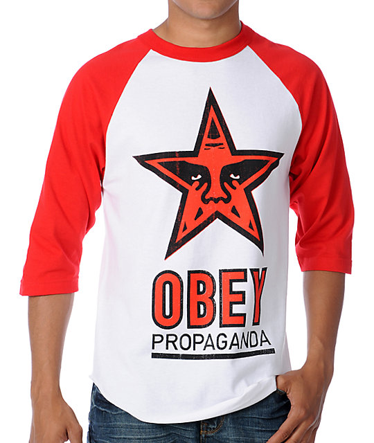 Obey OG Star Red & White Baseball T-Shirt