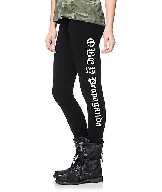 40b73325be3155 Obey Old English Black Printed Leggings   Zumiez