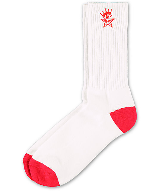 Obey Ordained White & Red Crew Socks