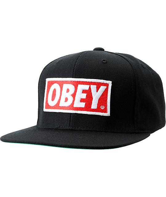 Obey Original Black Snapback Hat  ee6d459f0be