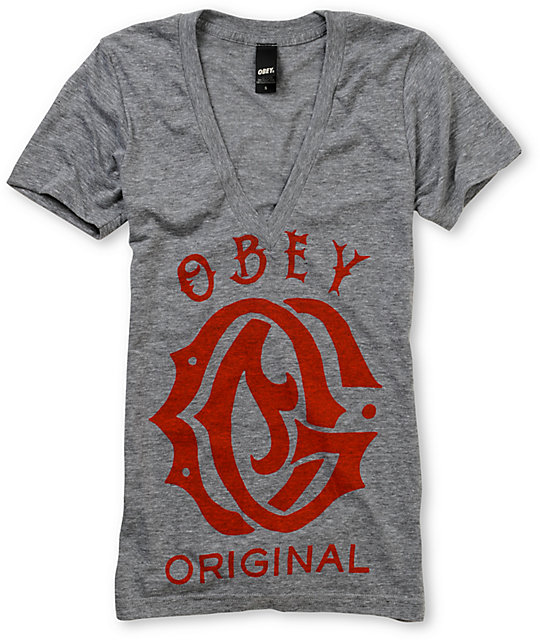 Obey Original Deep V-Neck T-Shirt