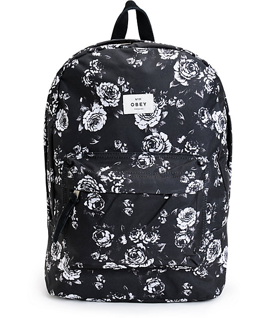 obey outsider black floral backpack zumiez