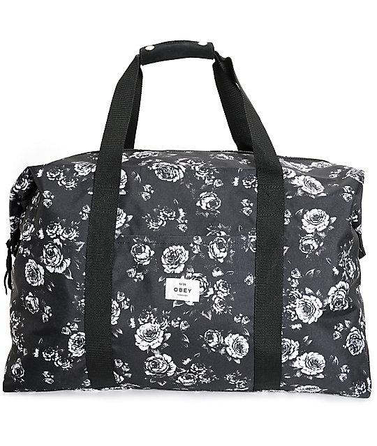 Obey Outsider Black Fl Weekender Duffle Bag