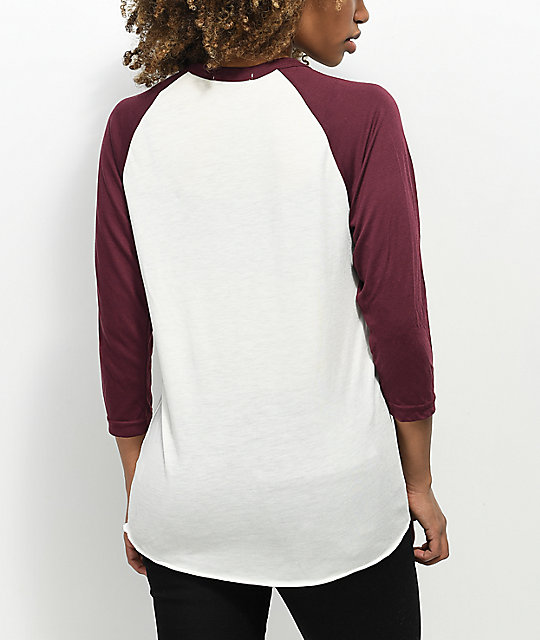 Obey Overgrown Cream & Burgundy Baseball T-Shirt