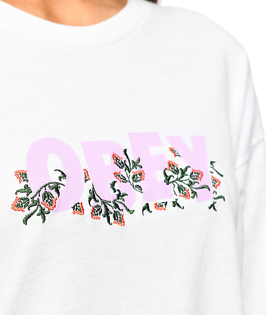 Obey Overgrown Salvage White Long Sleeve T-Shirt