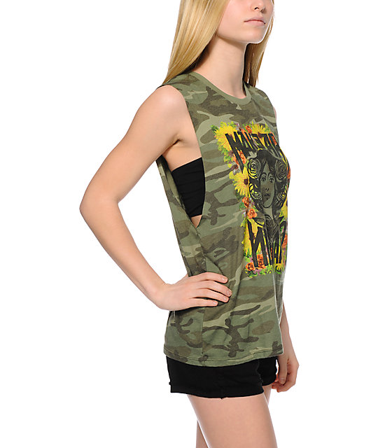 Obey Painted Make Art Not War Camo Print Muscle Tank Top
